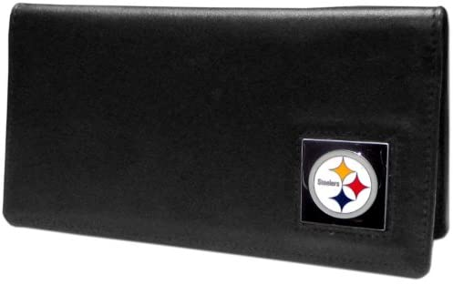 NFL Siskiyou Sports Fan Shop Pittsburgh Steelers Leather Checkbook Cover One Size Black