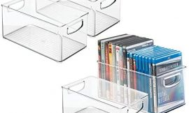 mDesign Plastic Stackable Household Storage Organizer Container Bin Box with Handles – for Media Consoles, Closets, Cabinets – Holds DVD's, Video Games, Gaming Accessories, Head Sets – 4 Pack – Clear