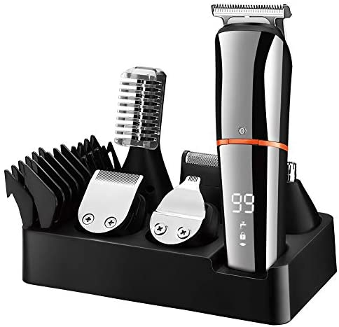 SURKER Beard Trimmer for Men Hair Clippers Body Mustache Nose Hair Groomer Cordless Precision Trimmer 6 in 1 Grooming Kit Waterproof USB Rechargeable
