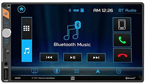 Dual Electronics 7-Inch Double-DIN in-Dash Mechless Receiver with Bluetooth (DM720)