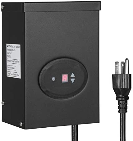 DEWENWILS 200W Outdoor Low Voltage Transformer with Timer and Photocell Sensor, 120V AC to 12V AC, Weatherproof, for Halogen & LED Landscape Lighting, Spotlight, Pathway Light, ETL Listed
