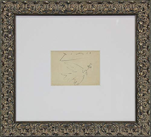 Pablo Picasso Autographed Signed Authentic Framed 5X6.5 Original Dove Of Peace Artwork Beckett