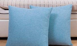 Jepeak Comfy Throw Pillow Covers Cushion Cases Pack of 2 Cotton Linen Farmhouse Modern Decorative Solid Square Pillow Cases for Couch Sofa Bed (Medium Blue, 16 x 16 Inches)