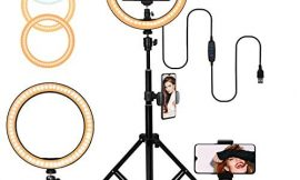 10″ Selfie Ring Light with Adjustable Tripod Stand, 3 Modes 10 Brightness Levels with 120 LED Bulbs 5500K, LED Ring Light with Phone Holder for Vlogs, Live Stream, Phone,YouTube,Self-Portrait Shooting