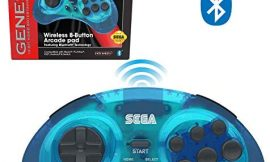 Retro-Bit Official Sega Genesis Bluetooth Controller 8-Button Arcade Pad for Nintendo Switch, Android, PC, Mac, Steam (Clear Blue)