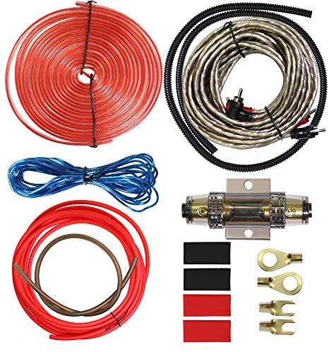 8 Gauge Car Amp Wiring Kit – Welugnal Amp Power Wire Amplifier Installation Wiring Wire Kit, Power, Ground, Remote Cable, RCA Cable,Speaker Wire, Split Loom Tubing Fuse Holder Subwoofers Wiring kit