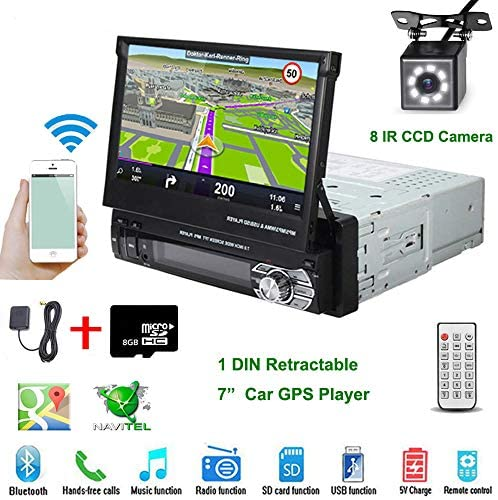 Car Stereo in-Dash Single DIN 7″ HD Touch Digital Screen Head Unit Support Bluetooth GPS Mirror Link FM/USB/SD/MP5/Hands-free with Backup Camera and Microphone by UNITOPSCI