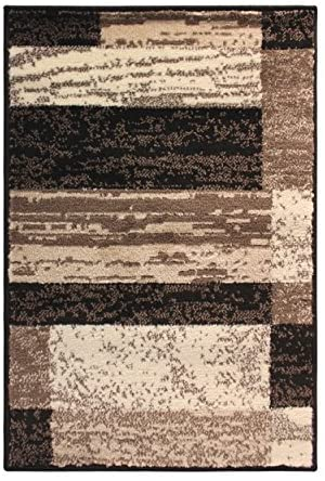 SUPERIOR Modern Rockwood Collection Area Rug, Modern Area Rug, 8 mm Pile, Geometric Design with Jute Backing, Chocolate, 3′ x 5′