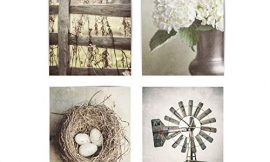 Farmhouse Shabby Chic Set of 4 Wall Art Prints (Not Framed). 5×7, 8×10, 11×14, or 16×20. Tan, Beige and Soft Gold Rustic Fence, Flowers, Nest and Windmill. (FBM4L)