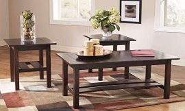 Signature Design by Ashley – Lewis Contemporary 3-Piece Table Set – Coffee Table and 2 End Tables, Brown