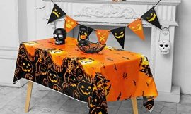 """Halloween Party Tablecloth, 2 Pack 72×54"""" Disposable Table Cover, Rectangle Plastic Table Cloths for for Halloween Party Decoration Supplies, Pumpkin Hunted House"""