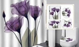 Fashion&Man 4PCS/Set Valentine's Day Romantic Rose Shower Curtain Floral Bath Curtain Waterproof Polyester Shower Curtain Bathroom Rugs Bath Mat Toilet Lid Cover wtih 12 Hooks, 72x72in, Purple Flower