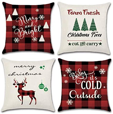 YHmall 4 Pcs Christmas Pillow Covers 18 x 18, Black Red Plaid Decorative Holiday Christmas Throw Pillow Covers Christmas Decor (red)