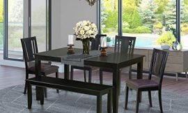 East West Furniture DULE6-BLK-LC 6-Pc Dinette Set Included a Rectangular Dining Table and 4 Wooden Dining Chairs Plus a Beautiful Bench – Faux Leather Dining Chairs Seat & Panel Back – Black Finish