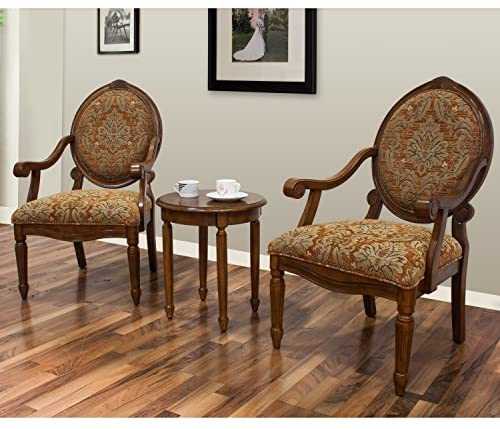 Best Master Furniture Miranda Traditional Living Room Accent Chair & Table Set,