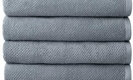Welhome Franklin Premium 100% Cotton 4 Piece Bath Towels | Dusty Blue | Popcorn Textured | Highly Absorbent | Durable | Low Lint | Hotel & Spa Bathroom Towels | 600 GSM | Machine Washable