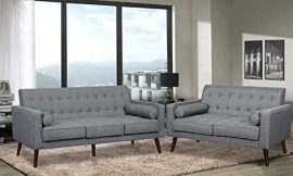 Container Furniture Direct Valadez Linen Upholstered Mid-Century Sofa Set, 75.5″ Sofa and Loveseat, Light Grey