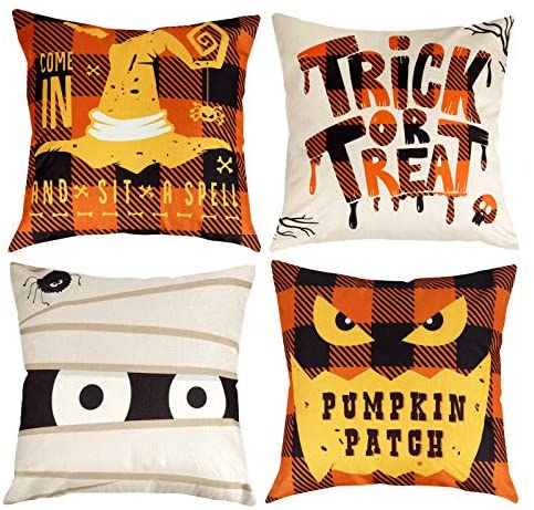 D-FantiX Halloween Pillow Covers 18×18 Inch Happy Halloween Decorations Pillow Cases Set of 4 Square Cotton Linen Sofa Bed Cushion Decorative Witches Trick Or Treat Holiday Throw Pillow Decor