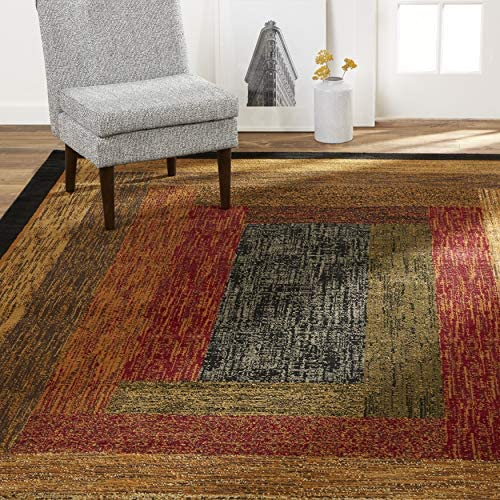 Home Dynamix Vega Modern Area Rug, Geometric Black/Brown/Red 3'3″X5'2″