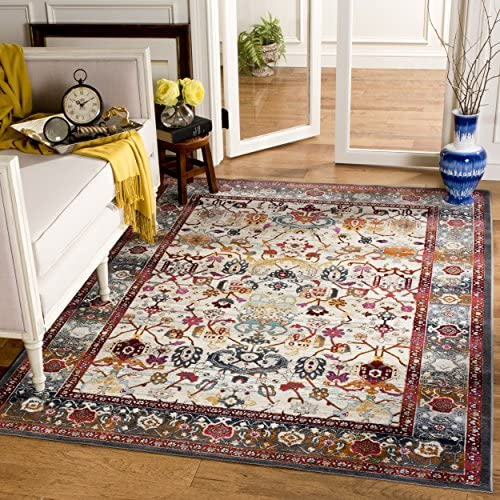 Safavieh Baldwin Collection BDN127D Ivory and Anthracite Grey Oriental Bohemian Area Rug (9′ x 12′)