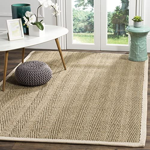 Safavieh Natural Fiber Collection NF115J Herringbone Natural and Ivory Seagrass Area Rug (8′ x 10′)