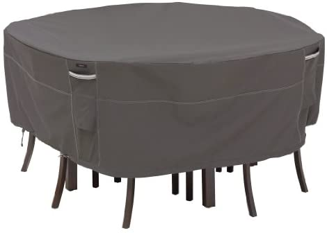 Classic Accessories Ravenna Water-Resistant 82 Inch Round Patio Table & Chair Set Cover