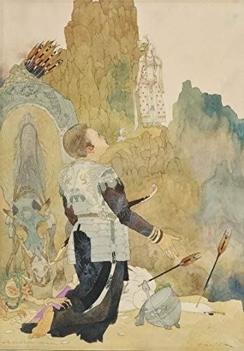 Gustav Adolf Mossa Giclee Print On Canvas-Famous Paintings Fine Art Poster-Reproduction Wall Decor(Paradise and The Peri) Large Size 27.1 x 39inches