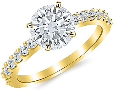 3.5 Ctw Round Classic Side Stone Prong Set 14K Yellow Gold Diamond Engagement Ring (H-I Color I1 Clarity 3 Ct Center)