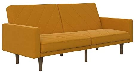 DHP Paxson Convertible Futon Couch Bed with Linen Upholstery and Wood Legs – Mustard