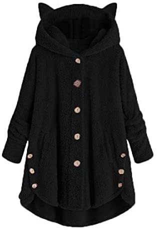 WOCACHI Womens Fleece Button Coat, Plus Size Loose Winter Solid Button Pockets Fluffy Sweater Hooded Outwear