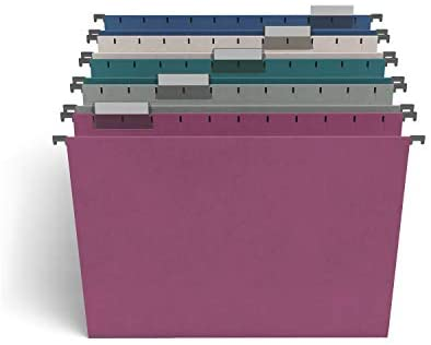 TRU RED TR58173 Hanging File Folders, 5-Tab, Letter Size, Assorted Jewel Tone Colors