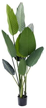 BLOOMR Potted Artificial Banana Plant, Trendy Luxury Silk Fabric Green Decorative Indoor Faux Plant, 47″ Tall, 5.5 lbs