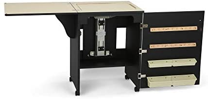 Arrow 503 Sewnatra Sewing Cabinet for Sewing, Cutting, Quilting, Crafting with Storage and Airlift, Portable with Wheels, Black Finish