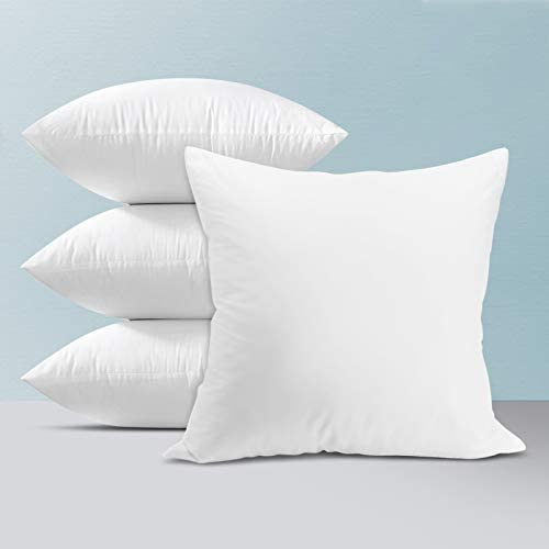 SOYARED Pillow Inserts 18X18 Set of 4 Decorative Throw Pillows Insert for Couch Bed Sofa Indoor Outdoor Square Euro Form Stuffing