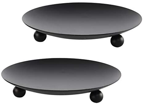 Black Iron Plate Candle Holder, Decorative Iron Pillar Candle Plate, Set of 2, 4.37 inches D x 0.78 inches H, Pedestal Candle Stand for LED & Wax Candles, Incense Cones, Spa, Weddings (2 pcs)
