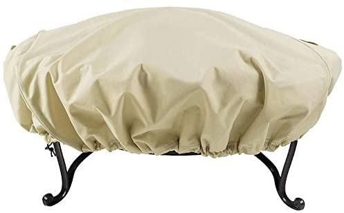 Leader Accessories 600D Full Coverage Round Fire Pit/Bistro Table Cover Heavy Duty & Waterproof & UV Resistand Fabric (Round 60″ Diameter, Beige)