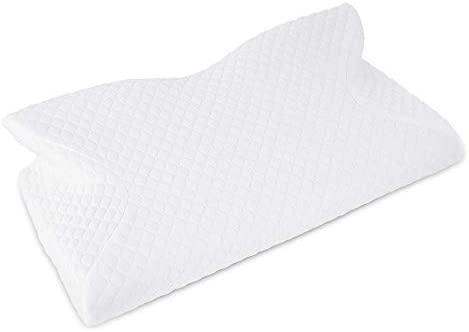 Keedox Contour Memory Foam Pillow Ergonomic Cervical Pillow for Neck Pain, Orthopedic Sleeping Pillows for Side Sleepers, Back and Stomach Sleepers (White – Memory Foam Pillow)