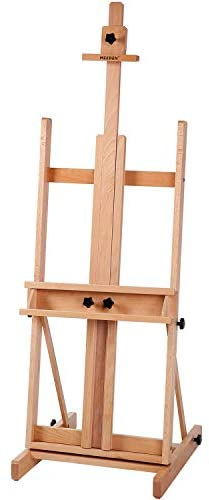 """MEEDEN Classic H-Frame Studio Easel, Artist Solid Beechwood Floor Easel, Premium Artist Easel Perfect for Oil, Acylic, Casein, Sketching, Pastel Painting, Holds Canvas Art up to 77"""", Natural Color"""