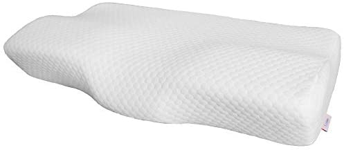 T.J.Dawn Contour Memory Foam Pillow for Sleeping,Cervical Pillow for Neck and Shoulder Pain,Support for Back, Stomach, Side Sleepers,with Washable Zippered,Ventilated Cover,White (Firm, Standard Size)