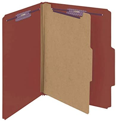 Smead Pressboard Classification File Folder with SafeSHIELD Fasteners, 1 Divider, 2″ Expansion, Letter Size, Red, 10 per Box (13775)