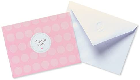 American Greetings Thank You Cards with Envelopes, Pink Dots (20-Count)
