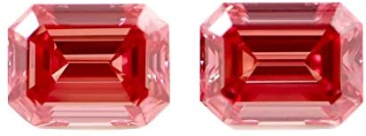 Fancy vivid Pink Loose Diamond Pair VVS1 8.20 CT Emerald Cut GIA Certified RARE One of A kind in the World