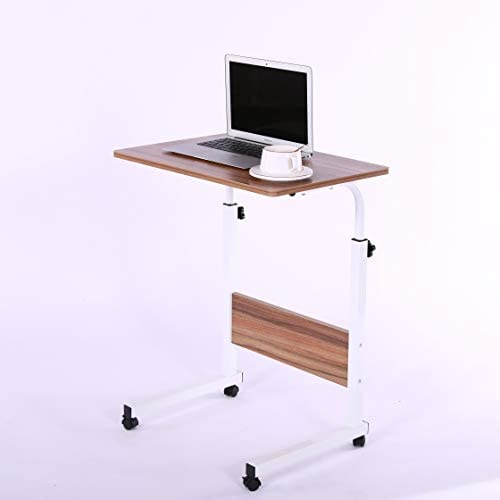 Laptop Cart 23.6″ Mobile Table Fancasa Movable Portable Adjustable Notebook Computer Stand with Wheels (Teak)