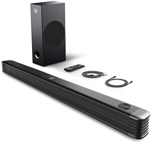 Sound Bar with Wireless Subwoofer, 150W 2.1 CH TV Sound Bar, Clear Treble, Enhanced Bass Adjustment, 34 Inch, Bluetooth 5.0, Works with 4K & HD TVs, Outdoor Surround Sound