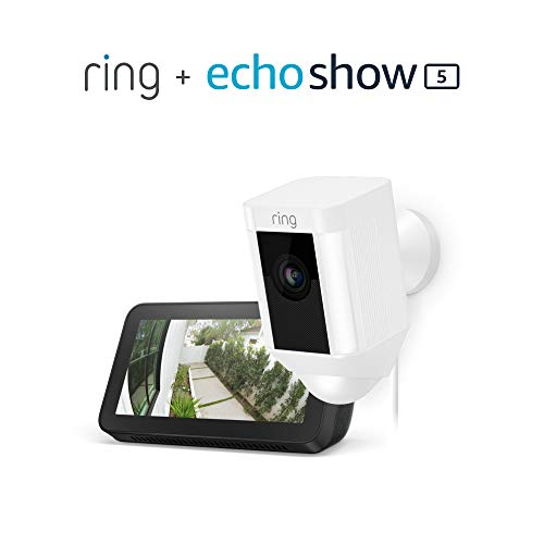 Ring Spotlight Cam Wired (White) with Echo Show 5 (Charcoal)