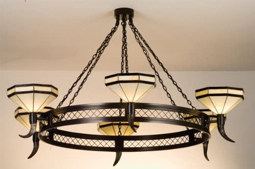 Meyda Tiffany Custom Lighting 72557 Traditional Six Light Chandelier from Topridge Collection in Craftsman Brown Finish, 72.00 inches