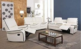 Home Garden Collections|3-Piece Living Room Reclining Sofa Sets|Bonded Leather Upholstery|Manual Reclining with Drop Down Table and Mid Console (3-Piece Set)
