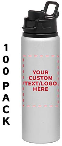 Aluminum Water Bottles with Snap Lids – 25 oz – 100 pack – Customizable Text, Logo – Bottle with Lid – Great For The Gym, Camping, Hiking, Fishing – Silver