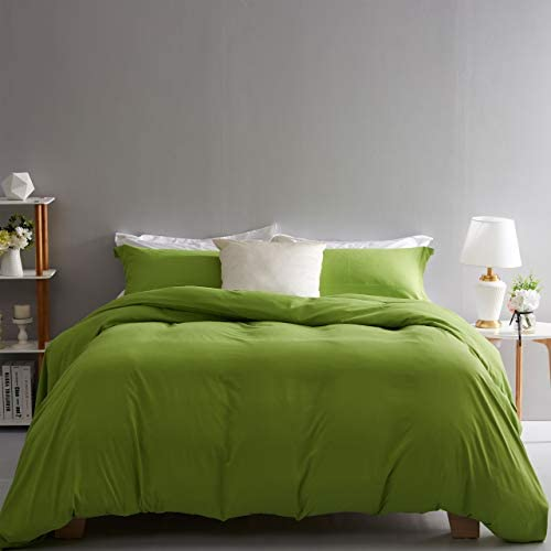 Duvet Cover Set King Size Lime Green 3 Piece Bedding Set 100% Brushed Microfiber with Button Closure,Corner Ties(1 Duvet Cover,2 Pillowcases) 106x90Inches