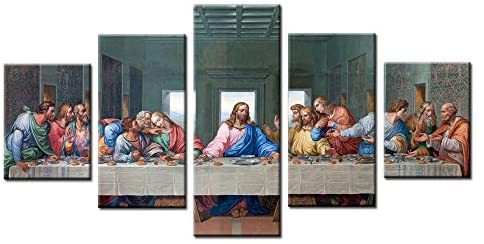 Jesus The Last Supper Wall Art Painting Canvas Prints for Home Decoration in 5 Pieces,Stretched-Ready to Hang (12x16inchx2+12x24inchx2+12x32inch)